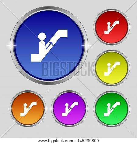 Escalator Icon Sign. Round Symbol On Bright Colourful Buttons. Vector