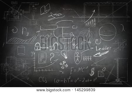 Mathematics and business icons on the school chalk board