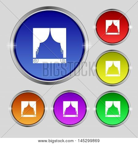 Window Curtains Icon Sign. Round Symbol On Bright Colourful Buttons. Vector
