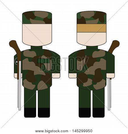 Simple cartoon military with guns in camouflage.