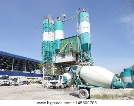 MALACCA, MALAYSIA -NOVEMBER 21, 2014: Concrete batching plant at the construction site. Concrete mix with additive with various grade produced here.