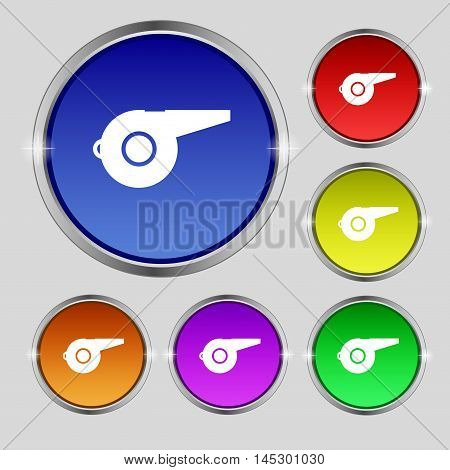 Whistle Icon Sign. Round Symbol On Bright Colourful Buttons. Vector