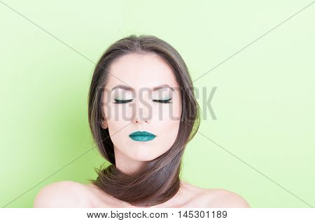 Woman Posing As Beauty Concept With Eyes Closed