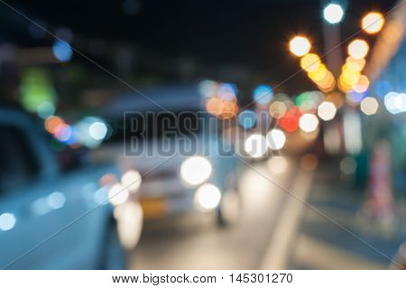 Traffic in city at night Motion blur