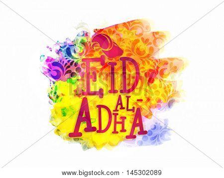 Eid-Al-Adha text with Goat Face for Muslim Community, Festival of Sacrifice Celebration.