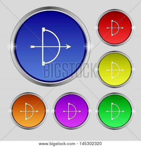 Cupid Icon Sign. Round Symbol On Bright Colourful Buttons. Vector