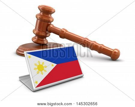 3D Illustration. 3d wooden mallet and Philippine flag. Image with clipping path