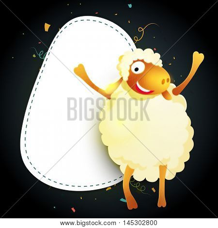 Sheep with space for your text on occasion of Muslim Community, Festival of Sacrifice, Eid-Al-Adha Mubarak.