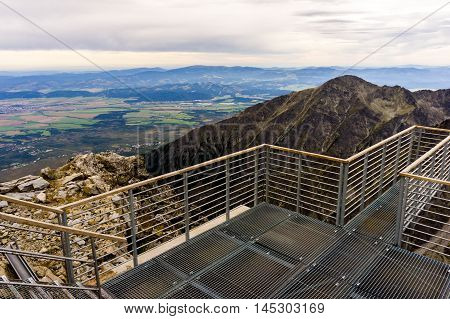 landscape with mountains in slovakia, high tatras, great view from the heights, lookout bridge