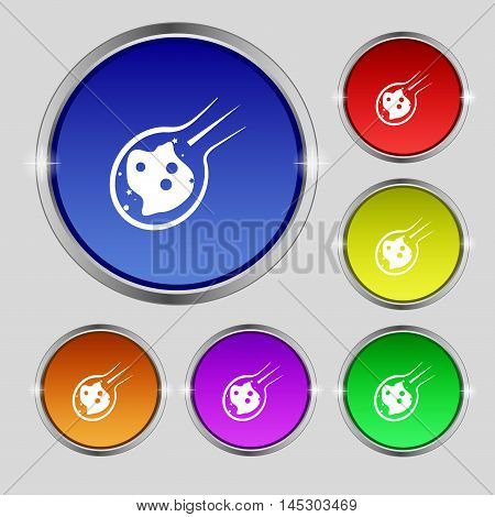 Flame Meteorite Icon Sign. Round Symbol On Bright Colourful Buttons. Vector