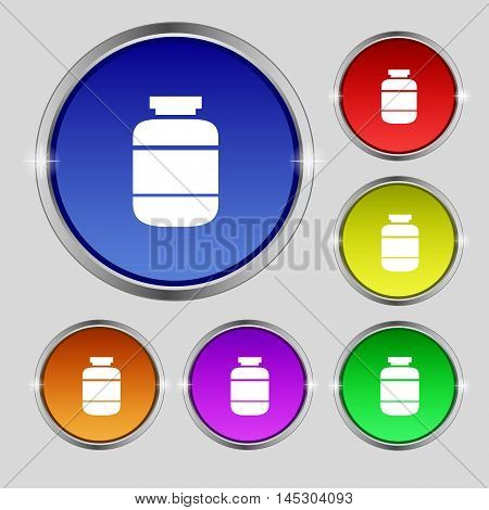 Medication Icon Sign. Round Symbol On Bright Colourful Buttons. Vector