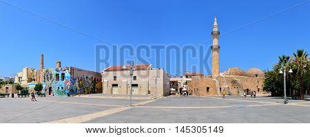 RETHYMNO GREECE - 08.03.2016: Mosque Neratzes landmark architecture panorama