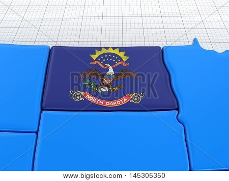 3D Illustration. Map of North Dakota state with flag. Image with clipping path.