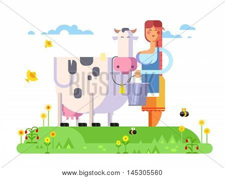 Cartoon character cow and milkmaid, flat vector illustration.
