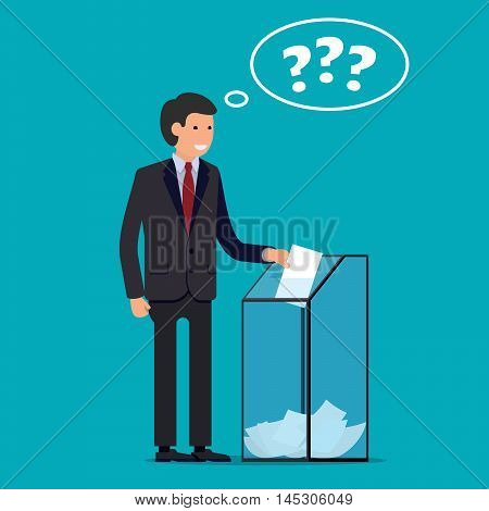 Businessman vote at ballot box. Vector illustration