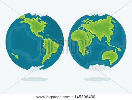 Vector earth. Map of the two hemispheres of the world. Design elements for marketing advertising promotion branding and media. Flat cartoon illustration. Objects isolated on a white background.