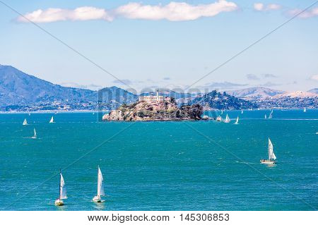 The prison and island of Alcatraz in San Francisco Bay