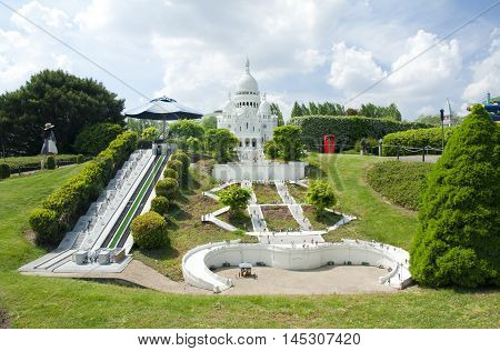 Brussels, Belgium - 13 May 2016: Miniatures At The Park Mini-europe - Reproductions Of Monuments In