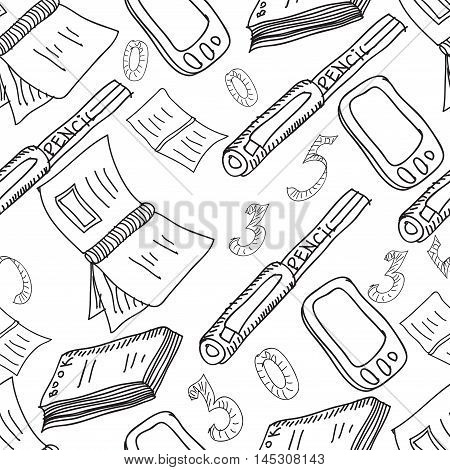 Vector seamless pattern. Hand drawn copybooks, pencils, telephone, calculator, numbers . Sketches.
