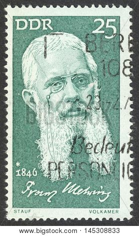 MOSCOW RUSSIA - CIRCA AUGUST 2016: a stamp printed in DDR shows a portrait of Franz Mehring the series