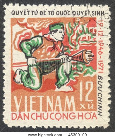 MOSCOW RUSSIA - CIRCA AUGUST 2016: a stamp printed in VIETNAM shows a soldier with hand-throwing bomb the series