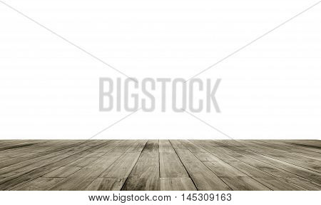 Wooden Board Empty Table In Front Of Isolate White Background. Perspective Brown Wood Over White Bac