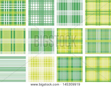 Set of Vector seamless patterns. Green, white and yellow color.Checkered, plaid background. Spring patterns for kids