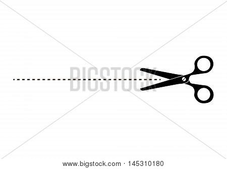 The scissors icon. Cut here symbol. Scissors and dotted line. Cut Here Scissors. Silhouettes of scissors with