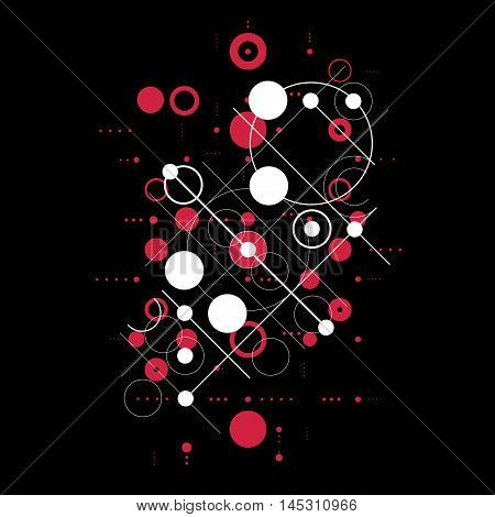 Modular Bauhaus red vector background created from simple geometric figures like circles and lines.