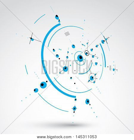 3d vector abstract background created in Bauhaus retro style. Blue modern geometric composition can be used as templates and layouts.