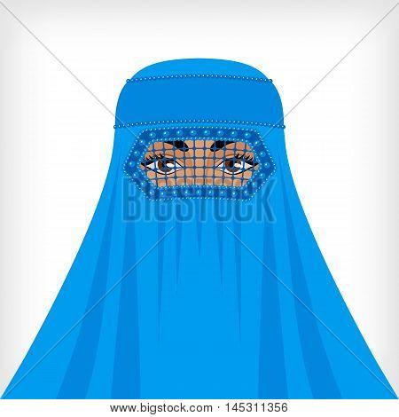Muslim woman in blue burqa. vector illustration - eps 8