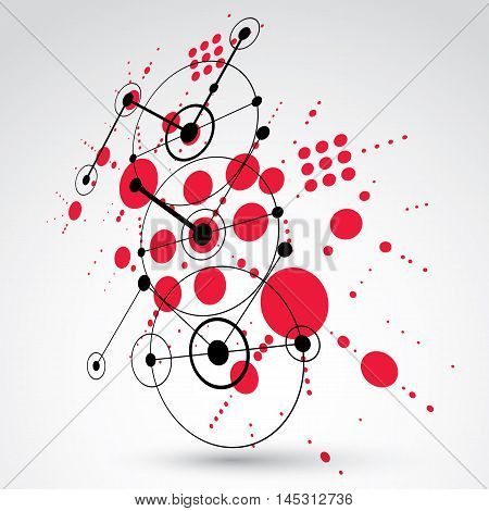 Modular Bauhaus 3d vector red background created from simple geometric figures like circles and lines.