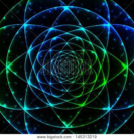 Sacred geometry symbol. Mandala mystery element. Used for space universe big bang alchemy religion philosophy astrology science physics chemistry and spirituality themes.