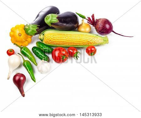 Vegetables fresh still life top view. Isolated on white background