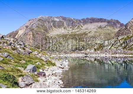 View Of The Blue Lake  In Stubai Alps