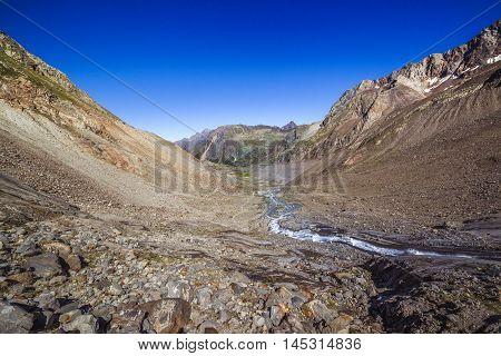 View Of The Sulzenauferner Glacier Valley In Stubai Alps