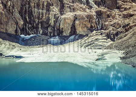 Melting Glacier,waterfalls And Lake In Stubai Alps