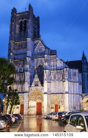 Auxerre Cathedral at dawn. Auxerre Burgundy France
