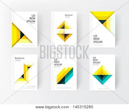 cover design idea. yellow, green and black abstract geometric modern background. yellow triangles and diagonal lines & color strips. creative concept flyer, brochure, textbook, stationery template