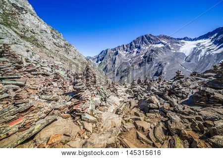 Stone Tower In Mountains, Stubai Alps