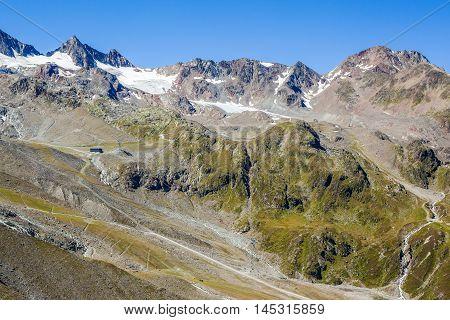 View Of The Stubai Glacier, Mountains And Peaks