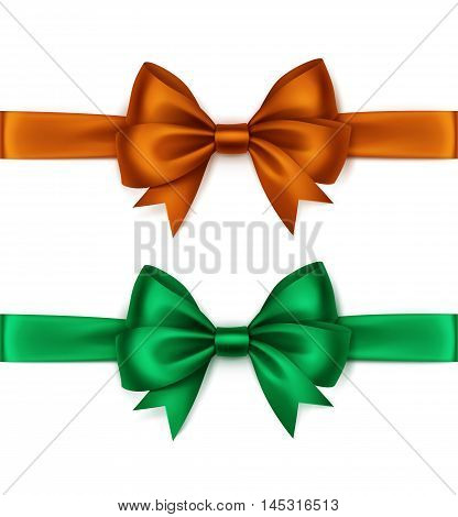 Vector Set of Shiny Orange Green Emerald Satin Bows and Ribbons Top View Close up Isolated on White Background