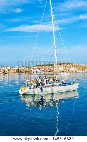 RETHYMNO GREECE - OCTOBER 16 2013: The sailing yacht is ready for the trip along the coast of Crete on October 16 in Rethymno.