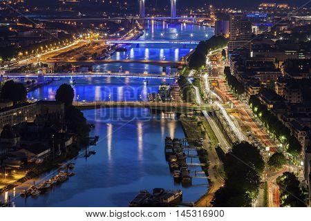 Bridges on Seine River in Rouen. Rouen Normandy France