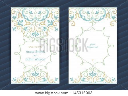 Vintage Ornate Cards In  Eastern Style.