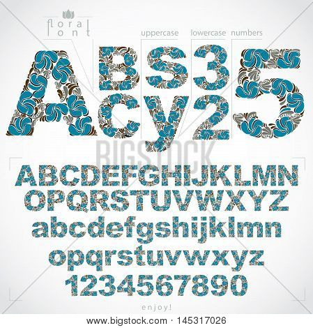 Ecology style flowery font and numbers vector typeset made using natural ornament. Numeration from 0 to 9 and alphabet letters created with spring leaves and floral design.