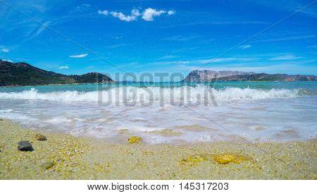 blue sea in Capo Coda Cavallo Sardinia