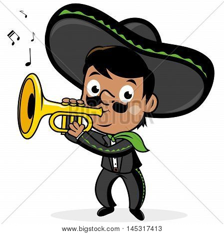 Mexican mariachi man wearing a sombrero, and playing the trumpet.