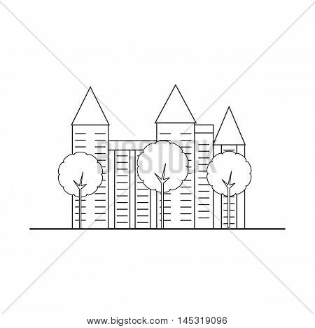 Element city. Multi-storey house with trees. Vector illustration.