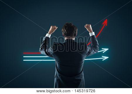 Benchmarking and market leader concept. Manager (businessman coach leadership) celebrate the best company in competition.